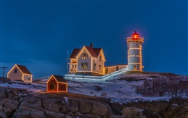 Evening, lighthouse, houses, lights