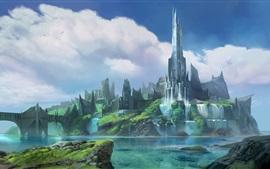 Cidade da fantasia, castelo, ponte, rio, cachoeira, imagens de arte