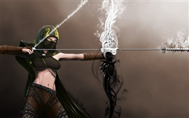 Fantasy girl, abdomen, bow, archer, mask