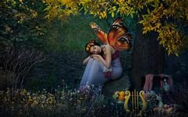 Chica de fantasía, duende, mariposa, frutas, árbol