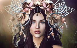 Preview wallpaper Fantasy girl, face, hair decoration, flowers