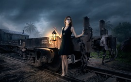 Preview wallpaper Fantasy girl, train, lantern