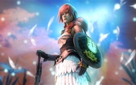 Preview wallpaper Final Fantasy XIII, Lightning, pink hair girl, sword, shield