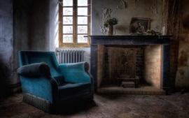 Cheminée, chaise, fenêtre, poussière