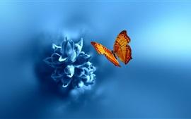 Цветок, синий стиль, оранжевая бабочка