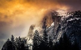 Niebla, nubes, montañas, nieve, mañana