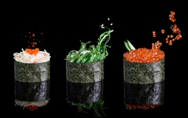 Preview wallpaper Food, nori, caviar, sesame, vegetable, black background
