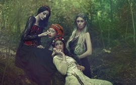 Preview wallpaper Four girls, forest, makeup, dream