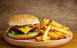 Preview wallpaper French fries, hamburger, cheese, food