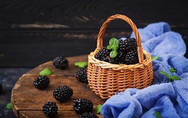 Fresh blackberry, basket, table