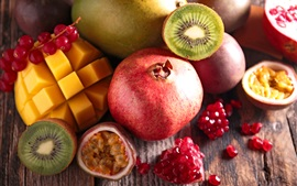 Fruit close-up, mango, kiwi, pomegranate, passion fruit