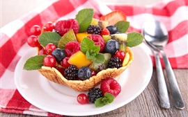 Preview wallpaper Fruit salad, dessert, spoon