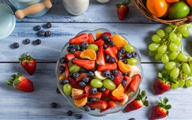 Preview wallpaper Fruit salad, grapes, strawberry, blueberry, orange