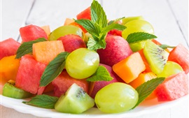 Preview wallpaper Fruit salad, kiwi, watermelon, grapes