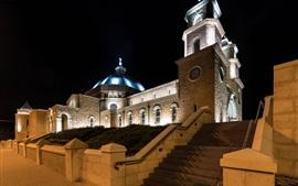 Джеральдтон, Австралия, собор, ночь, огни
