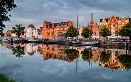 Preview wallpaper Germany, Lubeck, beautiful city, river, cars, houses