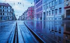 Preview wallpaper Germany, rainy day, city, street, wet ground