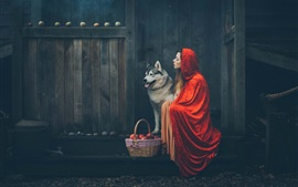 Preview wallpaper Girl and dog, cloak, basket, apples
