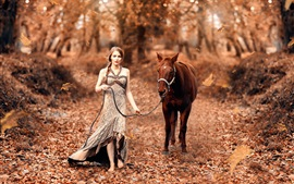 Preview wallpaper Girl and horse, autumn, forest