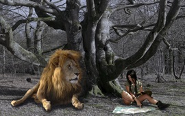 Preview wallpaper Girl and lion, under tree, map