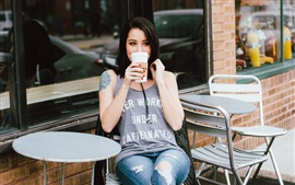 Preview wallpaper Girl drink coffee, cafe