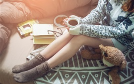 Preview wallpaper Girl legs, warm coffee, sweater, book, toy bear