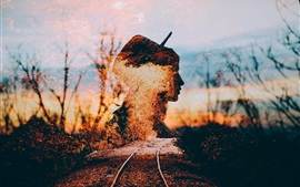 Girl silhouette, rails, autumn, creative picture