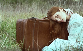 Preview wallpaper Girl, suitcase, grass