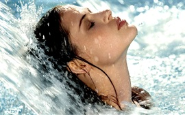 Preview wallpaper Girl washing hair, water