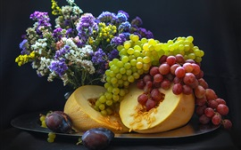 Preview wallpaper Grapes, melon, fruit, flowers