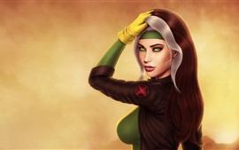 Green eyes fantasy girl, look back, chest