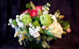 Preview wallpaper Green hydrangea flowers, tulips, bouquet