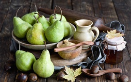 Preview wallpaper Green pears, sugar, nuts, honey