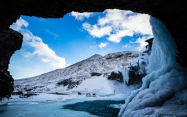 Preview wallpaper Grotto, cave, ice, snow, winter, blue sky, clouds