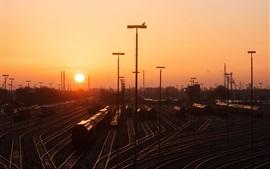 Hamburgo, estación de ferrocarril, ferrocarril, puesta del sol, Alemania