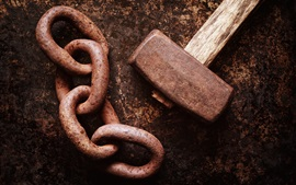 Preview wallpaper Hammer and chain, rusty