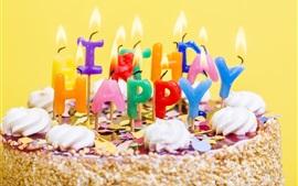 Happy Birthday, cake, candles, cream
