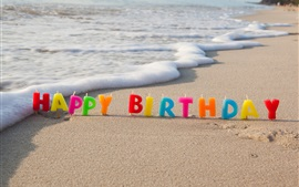 Preview wallpaper Happy Birthday, colorful candles, beach, sea