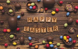 Preview wallpaper Happy Easter, colorful eggs, chocolate