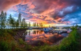 Preview wallpaper Harbour, evening, boats, trees, lake, summer