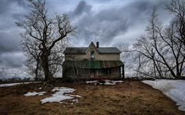 House, trees, snow, winter, clouds, dusk