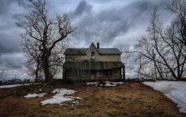 Aperçu fond d'écran Maison, arbres, neige, hiver, nuages, crépuscule