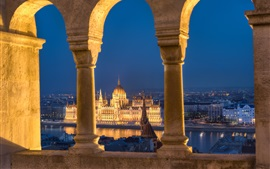 Hungary, Budapest, Danube river, Parliament, lights, river, arch
