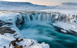 Preview wallpaper Iceland, Godafoss, waterfall, snow, winter, cold