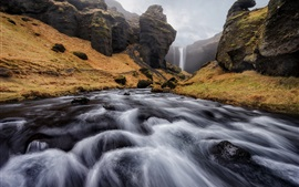 Preview wallpaper Iceland, stream, waterfall, mountains, clouds