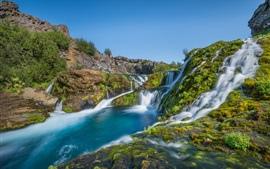 Iceland, waterfalls, river, beautiful nature landscape