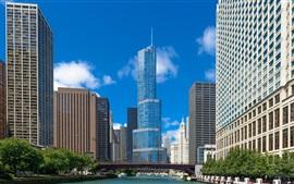 Illinois, chicago, rascacielos, ciudad, río, puente, estados unidos de américa