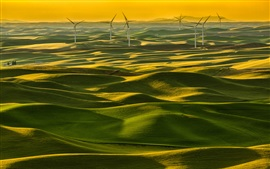 Preview wallpaper Italy, Tuscany, green fields, windmills