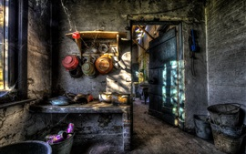 Kitchen, furniture, dishes, ruins
