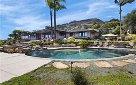 Laguna Beach, casa, palmeras, piscina, Estados Unidos